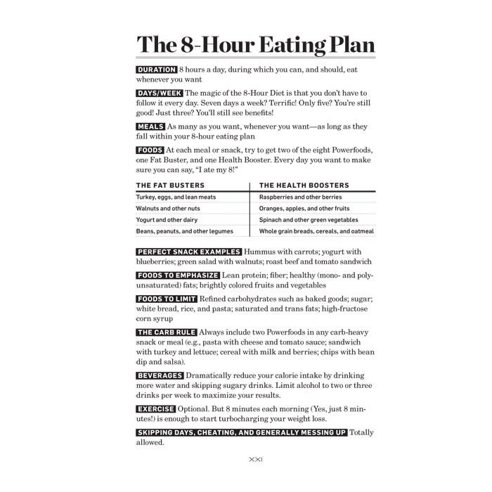 8 hour diet eating plan