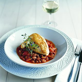Baked corn-fed chicken with borlotti beans