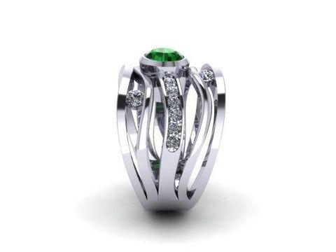 Custom Emearld and Diamond Ring