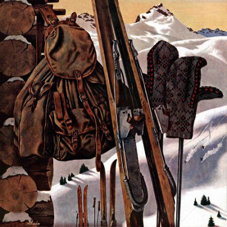 Marmont Hill Ski Equipment Still Life by John Atherton Painting Print on Canvas, Size: 40 inch x 40 inch, Multicolor