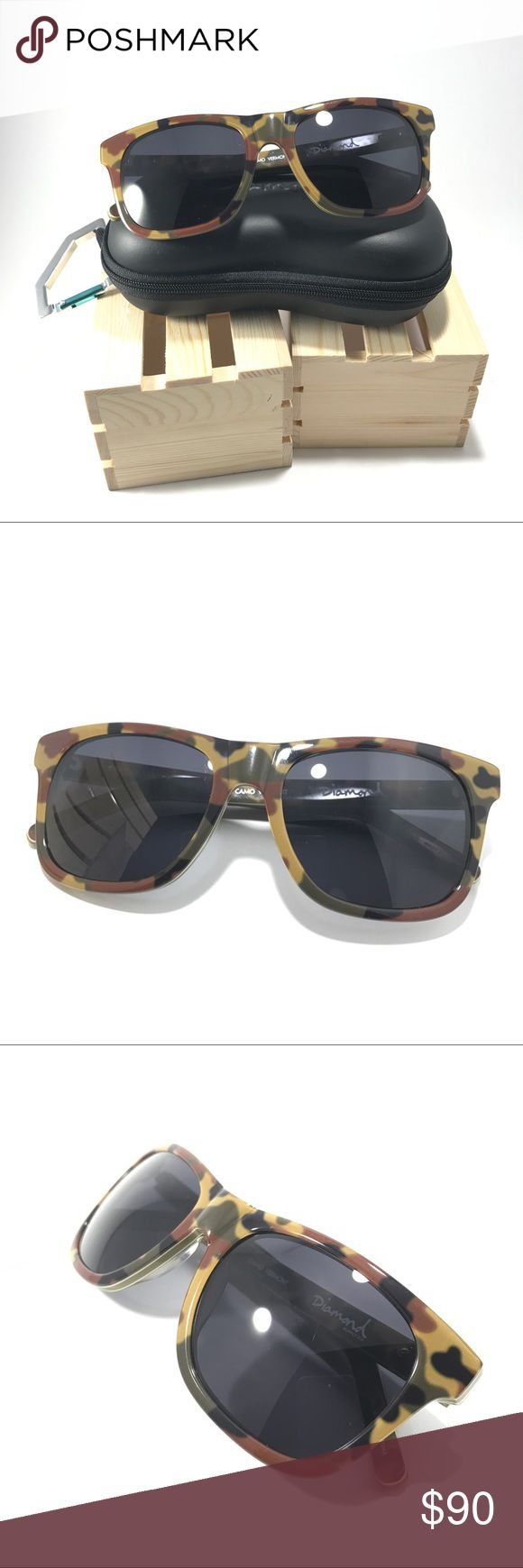 DIAMOND SUPPLY CO. Camo Sunglasses SOLD OUT style. Durable frame, metal diamond rivets on each temple, & polarized lenses. Comes with zip up hard case & microfiber bag. There is a thin hairline scratch on the left lens, unnoticeable when wearing & hard to capture in picture.Frames are in great condition & would look really cool as prescription glasses!  SELLERS NOTE •Items inspected and described honestly •Items are sold as is •Each order is packaged & SHIPPED SAME/NEXT BUSINESS DAY, unless…