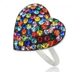 PR4626SWSS - Farebné srdiečko - strieborný prsteň so Swarovski krištálmi #supersperky #krasnesperky #fingerring #ring #jewelry #sperky #prsten #farebnyprsten #rainbow