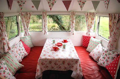 red: Trailers Interiors, Vintage Trailers, Vintage Campers Interiors, Vintage Caravan, Campers Ideas, Open Roads, Retro Caravan, Travel Trailers, Caravan Interiors