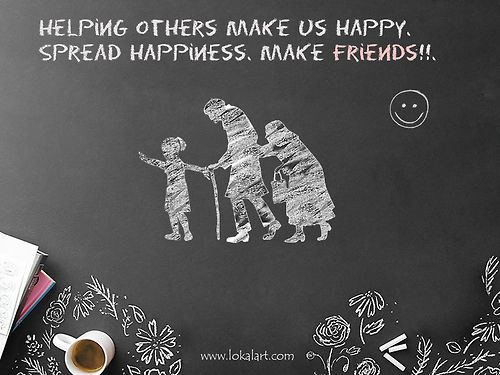 Have you ever done something to enrich someone's life?  Indeed, helping others make us happy.  Spread Happiness. Make Friends!!  Friendship Day Greetings from LOKALART!!   https://www.facebook.com/photo.php?fbid=504692369611667=a.409188225828749.96743.407765065971065=1