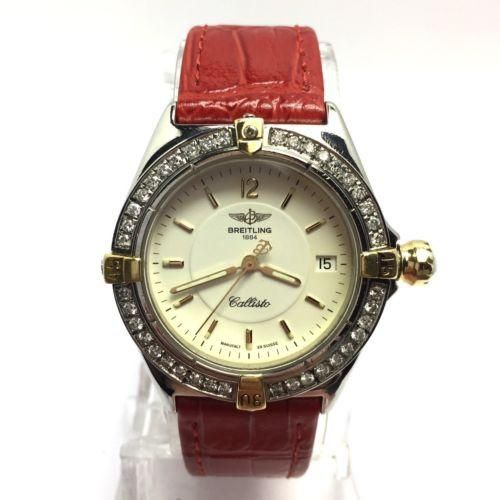 34mm BREITLING 1884 CALLISTO Steel Unisex Watch w/ Diamond Bezel & New Band