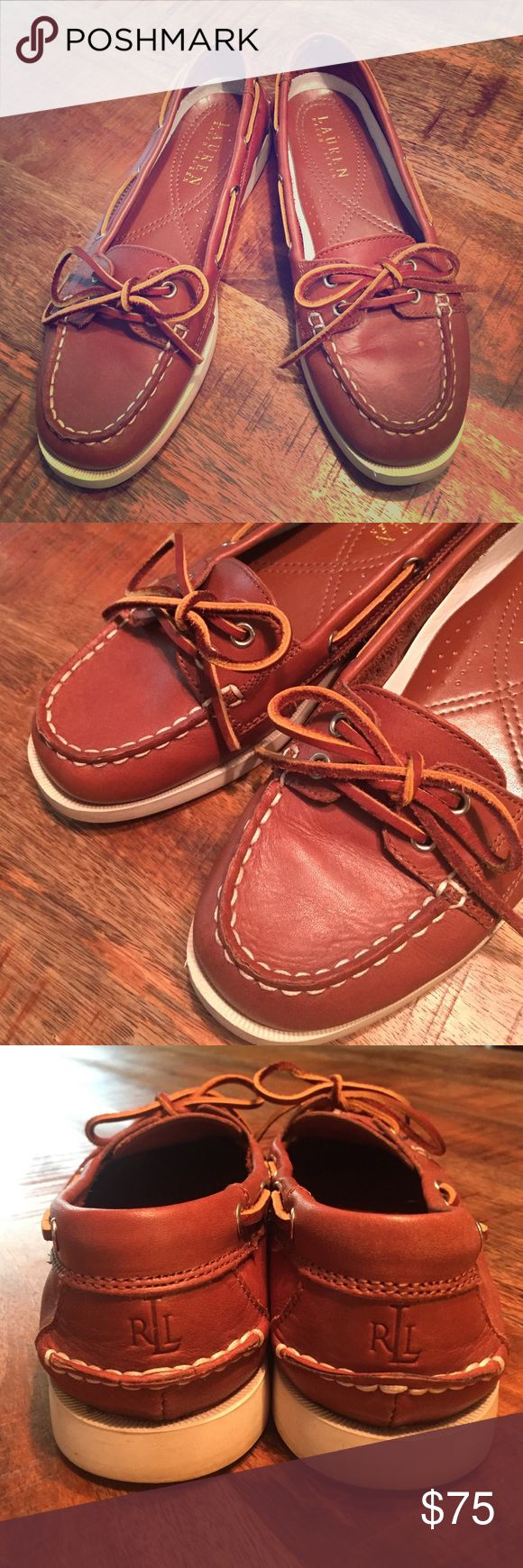 Ralph Lauren womens boat shoes Only worn a few times, look new. Light brown leather, cow-hide tie, white exterior stitching. A classic alternative to the uber trendy Sperrys. Make an offer! Ralph Lauren Shoes Flats & Loafers