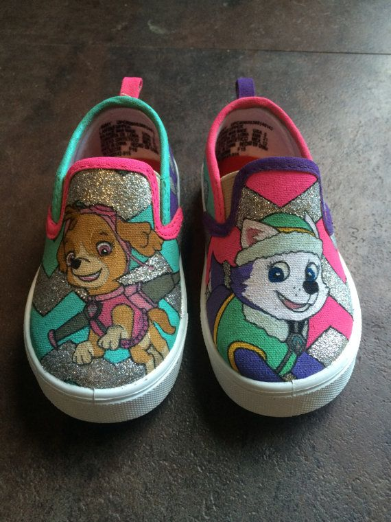 Skye and Everest Paw Patrol Shoes by ThePaintedSoulCo on Etsy