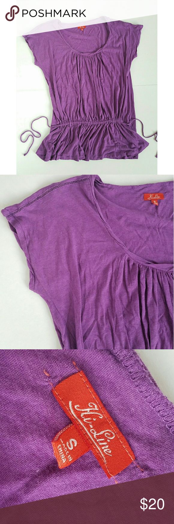 Madewell Purple Tie Waist Soft Tee Madewell Hi-Line purple tie waist tee. Size Small. Soft and lightweight. Relaxed fit.   Pre-owned condition with light signs of fading and piling from usual wash and wear.  Purple hue is slightly darker in person. Madewell Tops Tees - Short Sleeve