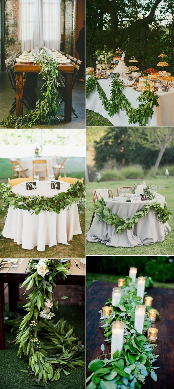 greenery garland wedding runner inspiration for reception ideas