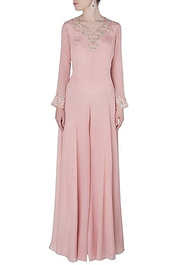 dc6812c94fbb Julie by Julie Shah Featuring a pink jumpsuit in viscose georgette base  embellished with embroidery