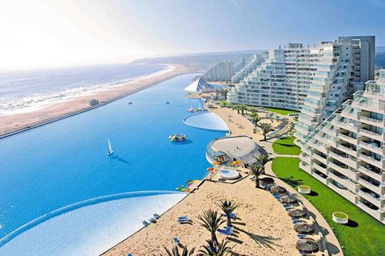 World's largest pool in San Alfonso del Mar in Algarrobo, Chile. It's 1,013 meters long, covers 80 acres,  reaches 115 ft deep and holds 66 million gallons of water.