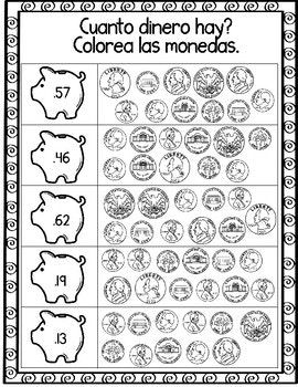 contando dinero spanish counting money worksheets second grade segundo counting money. Black Bedroom Furniture Sets. Home Design Ideas
