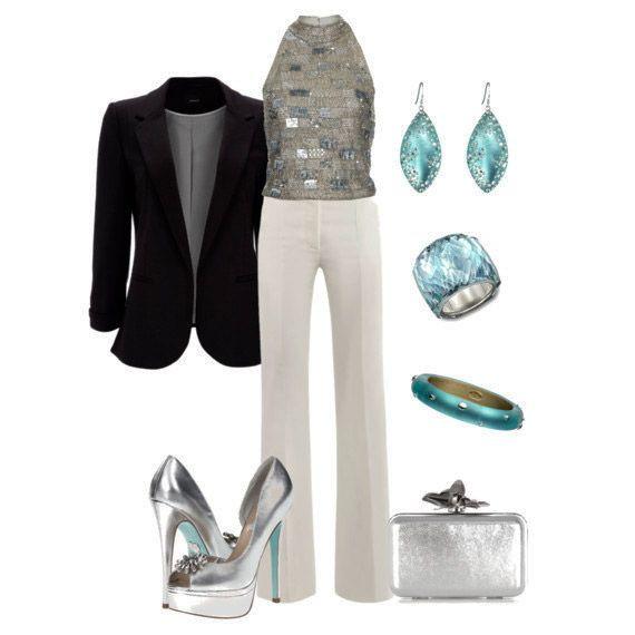 outfit da sera pantaloni bianchi