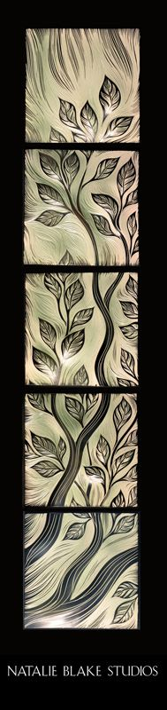 Custom Tree of Life branch ~ to be hung as wall art ~ ceramic handmade undulating porcelain sgraffito carved tiles ~ by Natalie Blake Studios