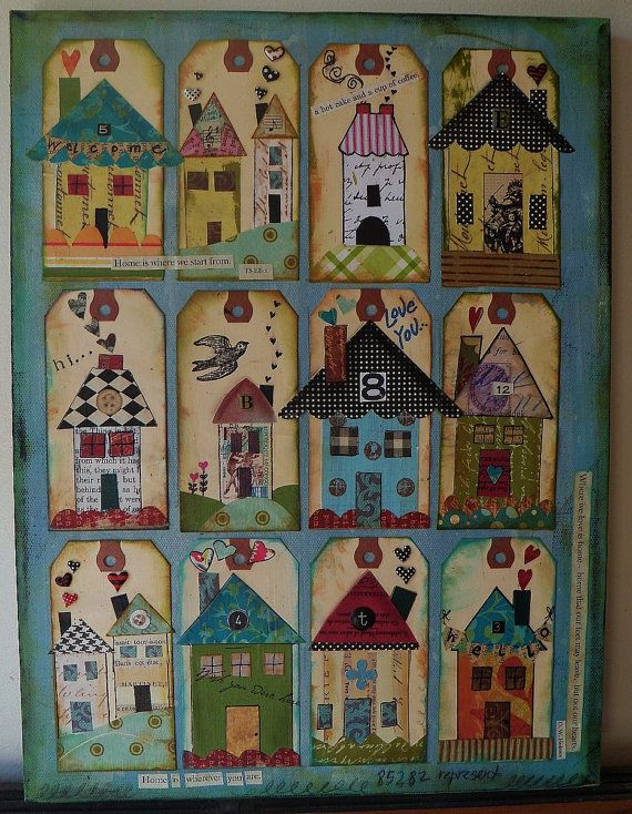 Inspiration. Original pinner sez: My Neighborhood Mixed Media Print Houses
