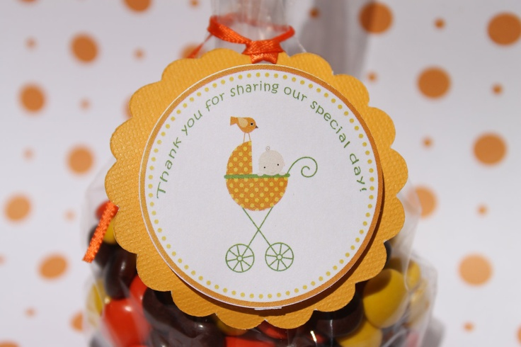 baby in stroller fall baby shower favor tags via etsy girly