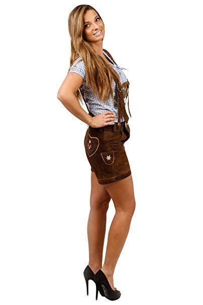 Damen Trachten Lederhose Kurz Super Passform 100 Echtleder