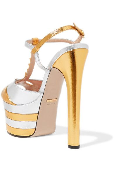 Gucci - Studded Two-tone Metallic Leather Platform Sandals - Gold - IT35.5
