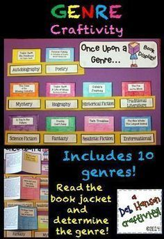 """Genre Craftivity- Students read the """"blurb"""" on the back of each """"book"""" and determine the genre."""