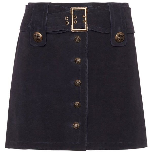 Exclusive for Intermix Ava Military Suede Skirt (£54) ❤ liked on Polyvore featuring skirts, navy, button skirt, military skirt, suede skirt, belted skirt and navy blue skirt