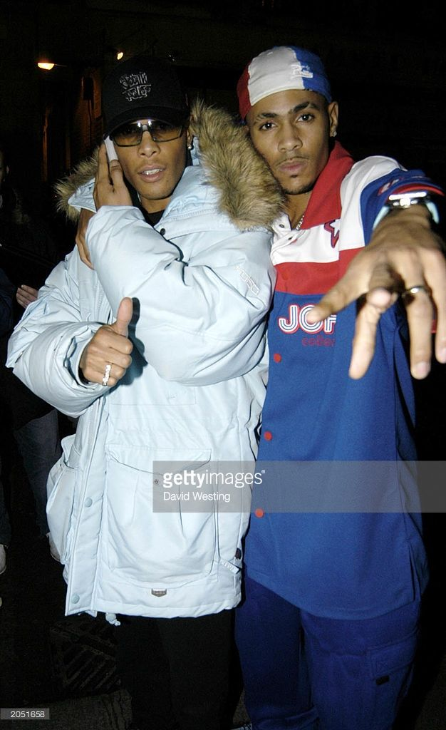 So Solid Crew members Romeo (L) and Harvey (R) arrive for the Smash Hits T4 Poll Winners Aftershow Party held at Club Click, London on November 24th 2002. So Solid Crew won Best R'N'B/Garage Act at the ceremony.