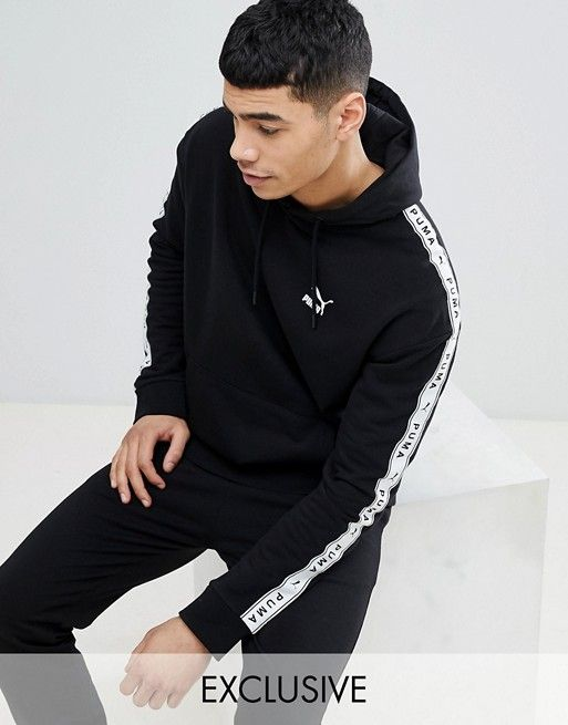 5406bbbf8d8 Puma pullover hoodie with taped side stripe in black Exclusive ...