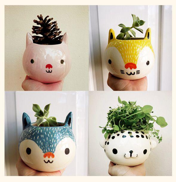 Mini Jardinières Kawaii par Miriam Brugmann : Des Animaux Pleins les Pots
