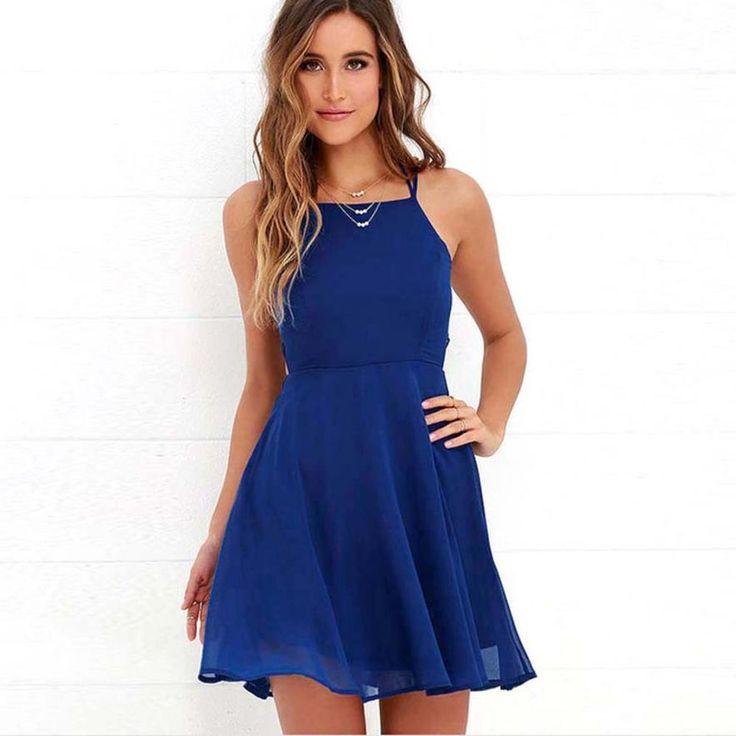 Backless Halter Chiffon A-Line Mini Dress, Blue, White Or Green, S, M, L, XL