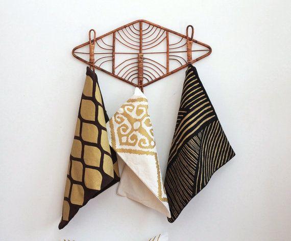 Karnataka pillow cover hand printed in metallic gold on black organic hemp by Chanee Vijay Textiles