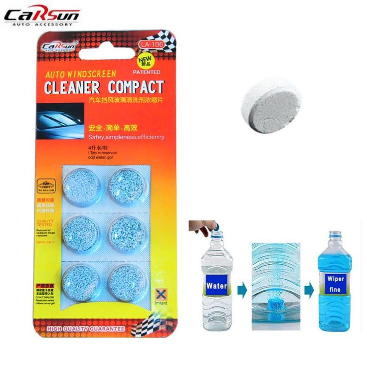 6pcs/pack Car Solid Wiper Fine Seminoma Wiper Window Cleaning Car Windshield Glass Cleaner Car Styling Wash Tablets