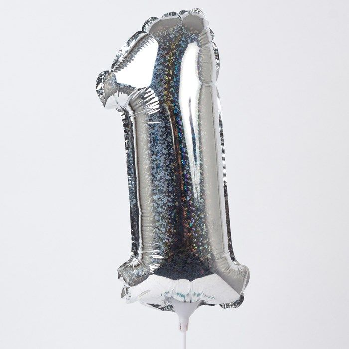 Holographic Silver Number 1 Balloon On A Stick | Only £1.49