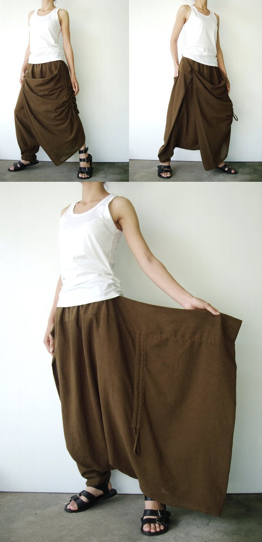 NO.26  Greenish Brown Cotton Asymmetric Harem Pants.