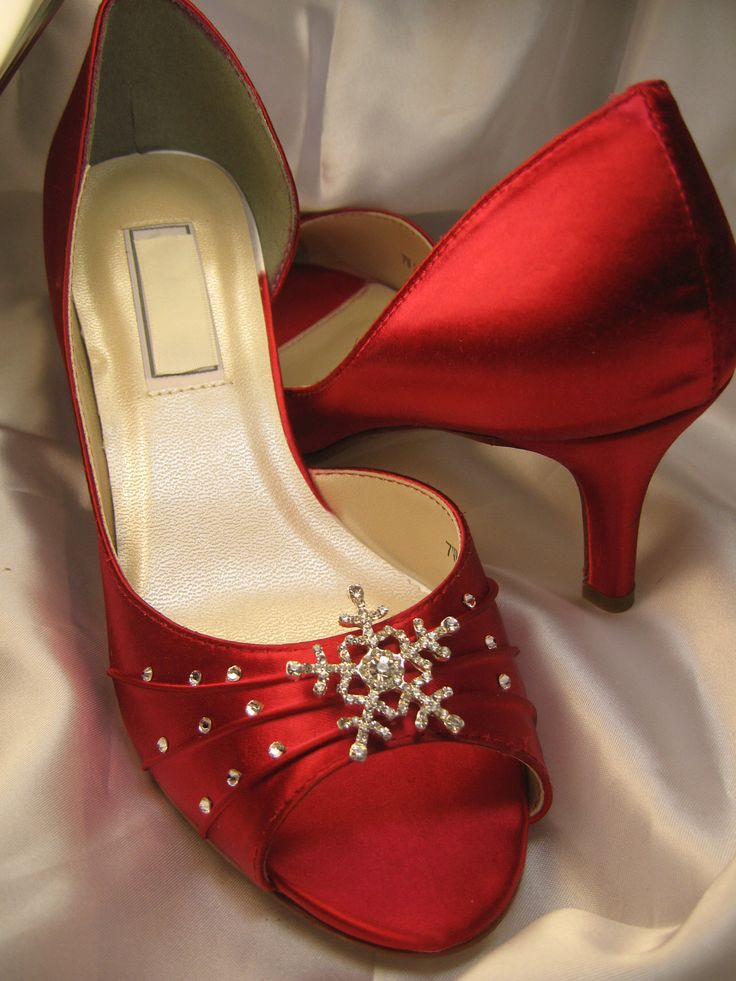 Winter Wedding Red Bridal Shoes With Crystal