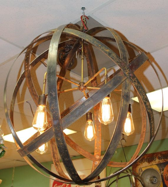 Industrial Tin Chandelier Industrial By Industriallightworks: Industrial Sphere Orb Chandelier Metal Strap Globe Hanging