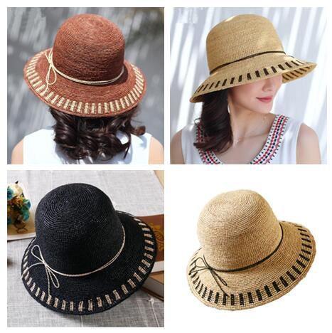 f98150338cf Color block straw hat with bow for women beach packable sun hats   sunhatsforwomenbeach