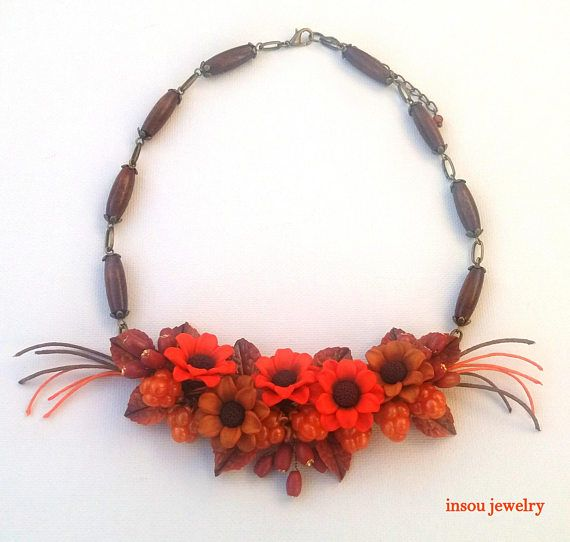 Fall Necklace Flower Necklace Fall Jewelry Statement