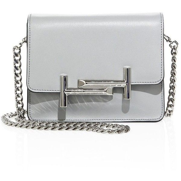 Tod's Mini Double T Leather & Chain Crossbody Bag ($1,285) ❤ liked on Polyvore featuring bags, handbags, shoulder bags, bolsas de lado, apparel & accessories, light grey, chain shoulder bag, leather handbags, crossbody handbag and chain strap shoulder bag