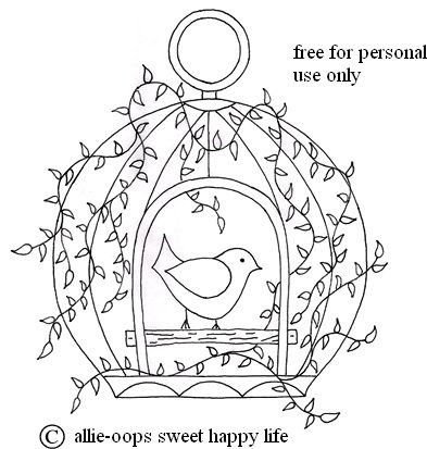 Bird in cage embroidery - an Allie Hartom original, and one of my favourites!