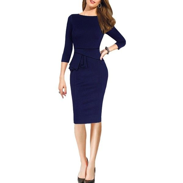 REPHYLLIS Women 3/4 Sleeve OL Working Casual Evening Party Peplum... ($17) ❤ liked on Polyvore featuring dresses, peplum cocktail dress, special occasion dresses, blue dress, evening cocktail dresses and holiday cocktail dresses