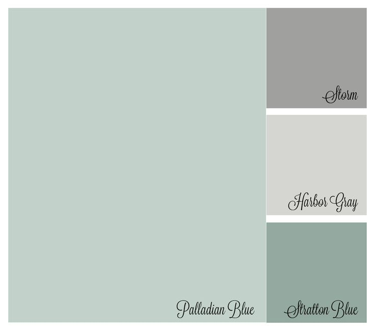 Color palette: Benjamin Moore Palladian Blue, Storm, Harboy Gray, Stratton Blue
