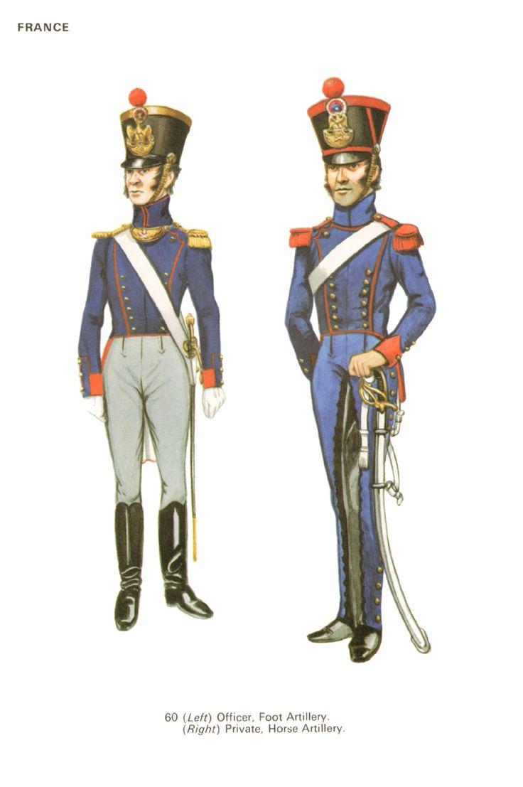 Ufficiale dell'artiglieria a piedi e cannoniere dell'artiglieria a cavallo francesi