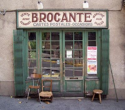 "brocante marche aux puces    a brocante is like a flea market or a fun and junky antique store - there is even a verb ""chiner"" which means to look for cool stuff in these places. French makes me happy =)"