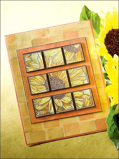 I have used this mosaic technique for cards for every ocasssion.  Large flowered papers work well! Add a ribbon, pearl or jewel embellishments and stamp a greeting!