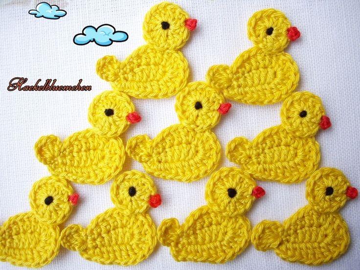 gehäkelte Applikationen Enten - Tiere by Haekelbluemchen - Crochet patches - Patches & Appliqué - DaWanda