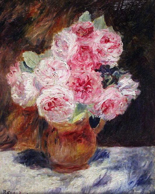 bofransson:  Pierre Auguste Renoir Roses in a vase 1878