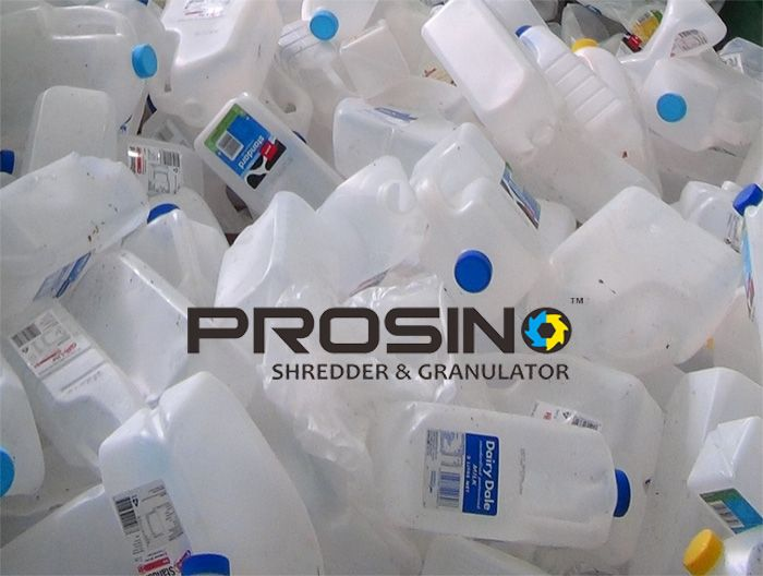 HDPE bottle recycling line helps to recycle HDPE bottle in a very efficient and labor saving way. Which consists of a typical HDPE bottle recycling line? PROSINO shredder and granulator are one of the most important recycling machines in whole HDPE bottle recycling line.