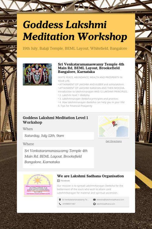 Goddess Lakshmi Meditation Workshop