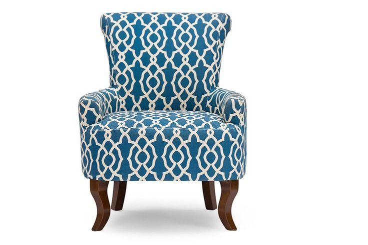 Dixie Fabric Armchair - Navy Blue Patterned Fabric