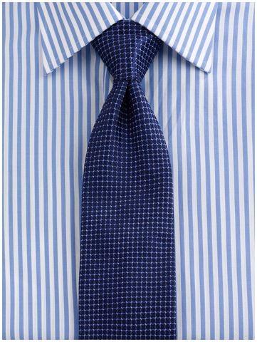 Stripe shirt, blue tie combo