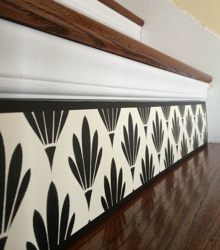 Black White / Art Deco / Alternative to Stair Riser Decals, Stair Stickers and Vinyl / Wood Stair Riser Panel / Custom Home Decor by TributeDesigns on Etsy